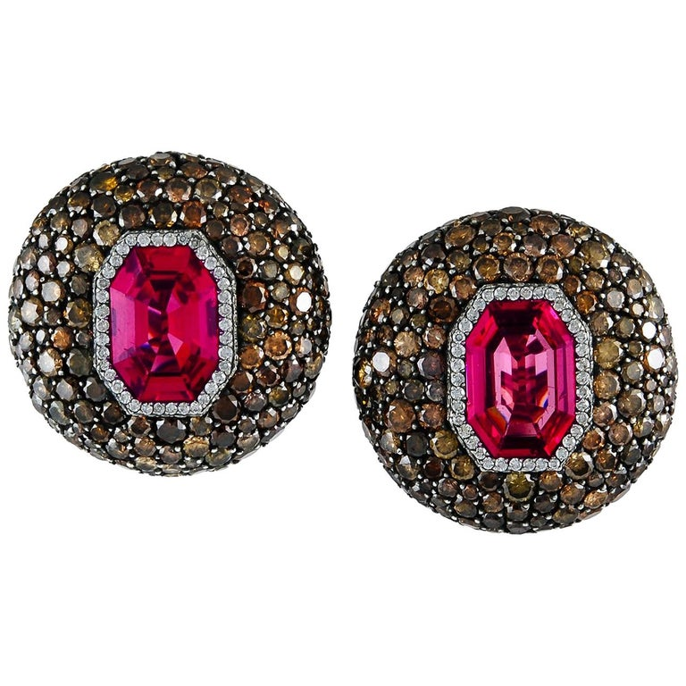 Jar Attractive Spinel, Diamond Ear Clips