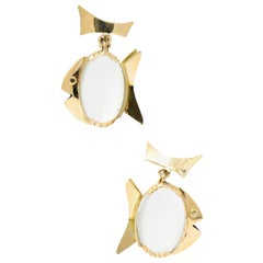 Pair of Retro Moonstone and 14 Karat Gold Fish Drop Ear-Clips
