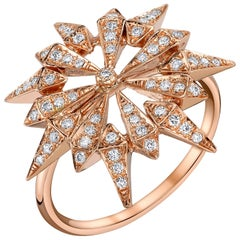18 Karat Rose Gold Diamond Sunburst Ring