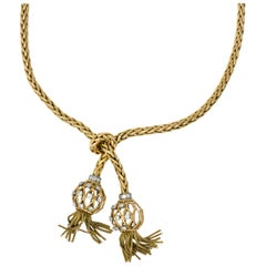 Retro Pierre Sterlé Diamond Platinum and 18 Karat Gold Tassel Necklace Paris