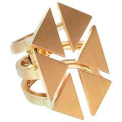 18 Karat Yellow Gold Floating Triangle Geometric Ring