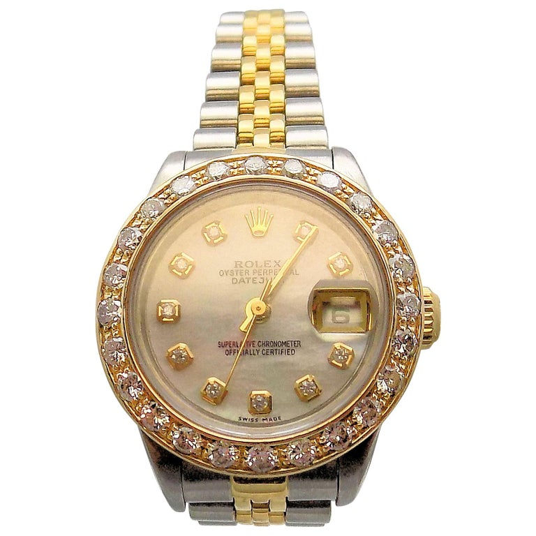 Lady's Diamond Rolex Wrist Watch with Mother-of-Pearl Dial For Sale