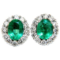 7-06ct-Natural-vivid-Green-Emerald-diamonds-cluster-earrings-14kt-Halo-Classic
