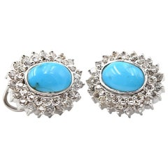 Persian Turquoise and Diamond 14 Karat White Gold Earrings