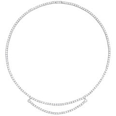 Art Deco Diamond Line Necklace with Center Swag