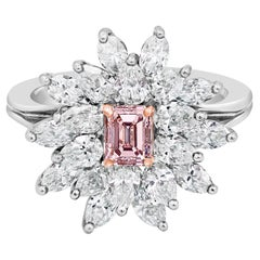 GIA Certified Fancy Intense Pink Diamond Cluster Engagement Ring