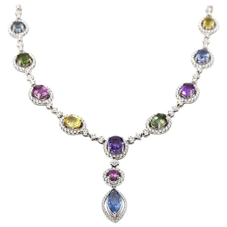 Multi-Color Sapphire and Diamond 18 Karat White Gold Necklace