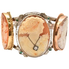 Ladies Sterling Silver Cameo Cuff