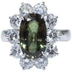 Ceylon Natural Chrysoberyl Alexandrite Stone Diamond 18K White Gold Ring 5.27cts