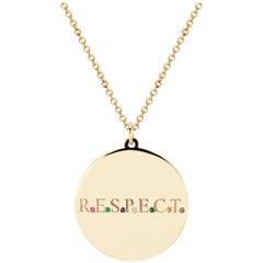 14 Karat Yellow Gold R.E.S.P.E.C.T. Multi-Stone Medallion Pendant