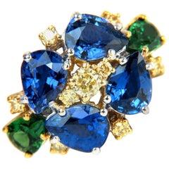 7.19 Carat Natural Fancy Yellow Diamonds Sapphire Tsavorite Cocktail Ring