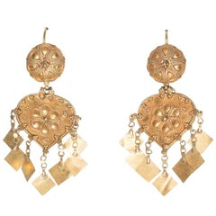 22 Karat Gold Dangle Earrings, India