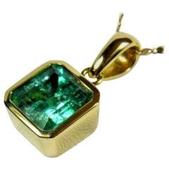 7.50 Carat Colombian Square Emerald Solitaire Pendant Emerald Cut 18 Karat