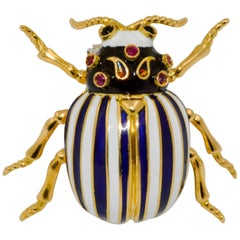 18 Karat Yellow Gold, Platinum Black Onyx Enamel Beetle Brooch