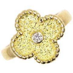 Van Cleef & Arpel Vintage Alhambra Diamond 18 Karat Yellow Gold Ring