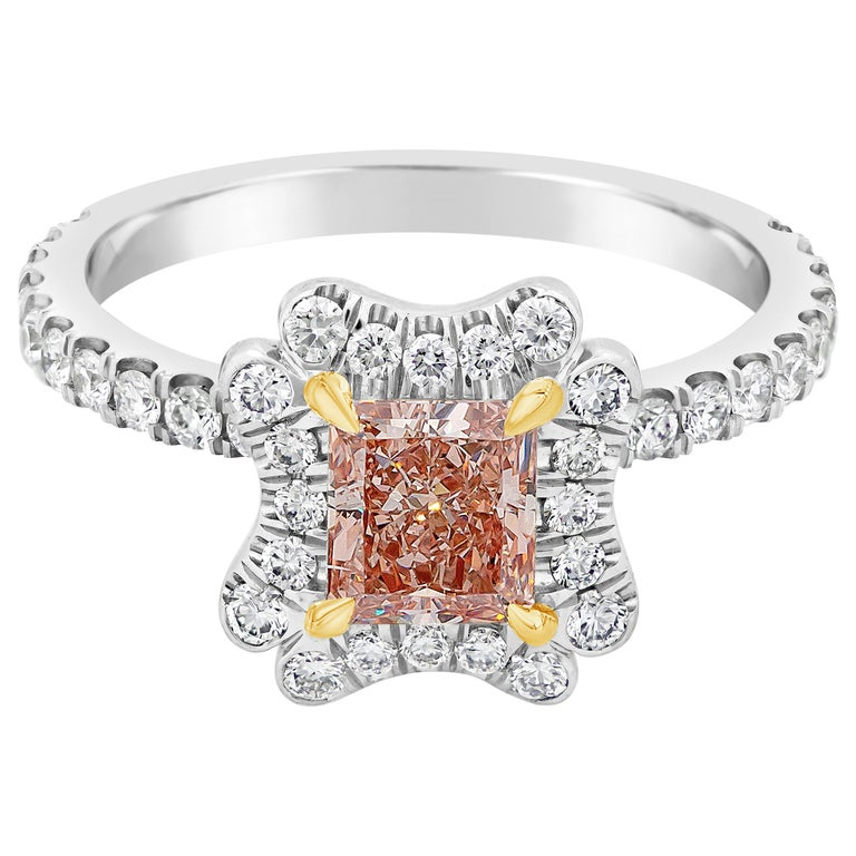 GIA Certified Natural Pink Diamond Contoured Halo Engagement Ring