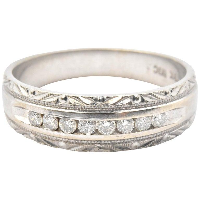 Men S 10 Karat White Gold And 0 24tw Diamond Wedding Band Ring For
