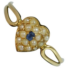 Victorian 18 Carat Gold Sapphire and Pearl Heart Shaped Signet Ring