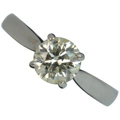 Natural 1.00 Carat Brilliant Cut Diamond 18 Carat White Gold Solitaire Ring