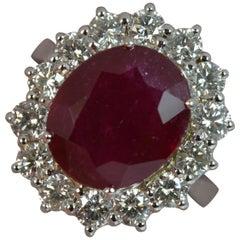 18 Carat White Gold 6.5 Carat Ruby and 1.40 Carat Diamond Cluster Ring