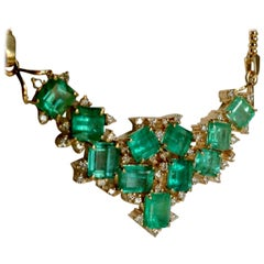 14.25 Carat Cluster Colombian Natural Emerald Diamond Pendant Necklace 18k