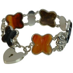 Antique Banded Agate and Silver Shell Design Bracelet