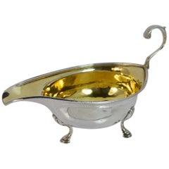 1810 Georgian Solid Silver Sauce or Gravy Boat on Three Feet