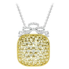 18Kt White & Yellow Gold Victorian Cushion Chain Pendant with white diamonds