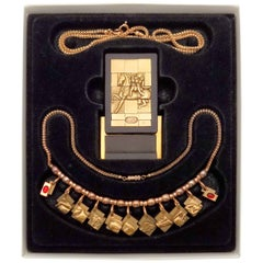 Bronze Berrocal Sculptural Puzzle Necklace, with Ring Inside, and Plaque