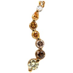 2.06 Carat Natural Fancy Yellow Orange Brown Light Pink Diamond Pendant Chain