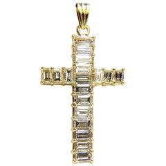 5.23 Carat Natural Diamonds Baguette Cross 18 Karat