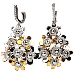 1.80ct diamonds dangle earrings 18kt high shine floating cluster petals dome