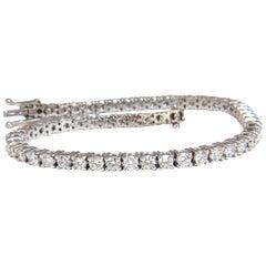 4.50 Carat Natural Classic Diamond Tennis Bracelet 18 Karat G/VS