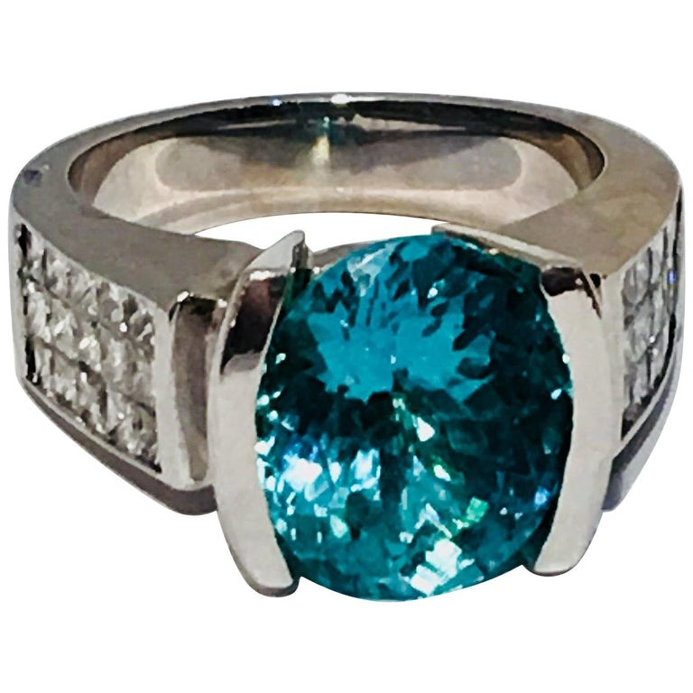Large GIA Certified Oval Paraiba Tourmaline and Diamond 18 Karat White Gold Ring