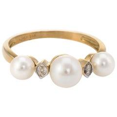 Cultured Pearl Diamond Band Ring 14 Karat Yellow Gold Fine Jewelry