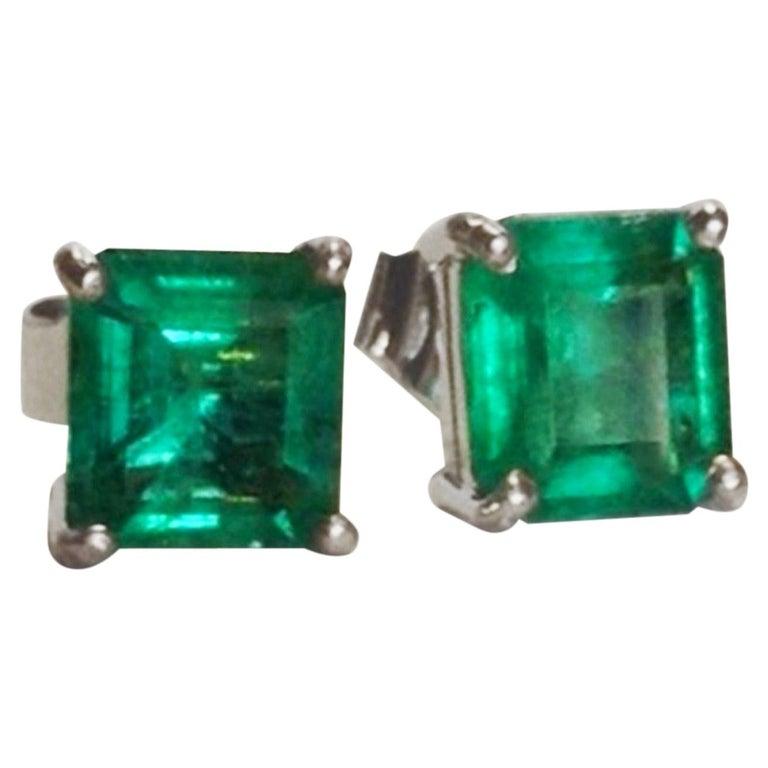 1 97 Carat Natural Emerald Stud Earrings 18 Karat White Gold For