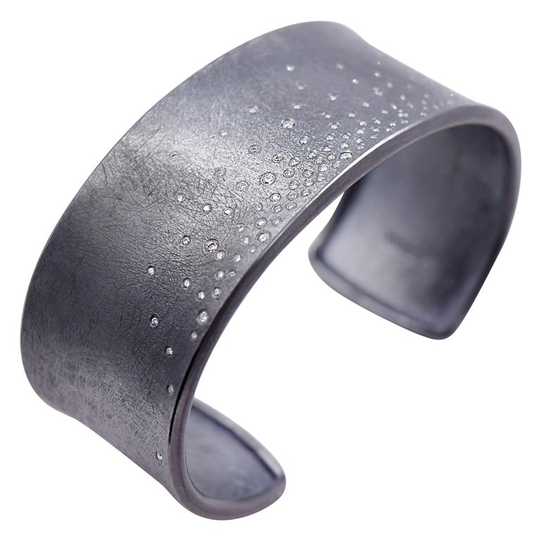 Todd Reed designed Flush Set Diamond Cuff Bracelet in Oxidized Sterling Silver