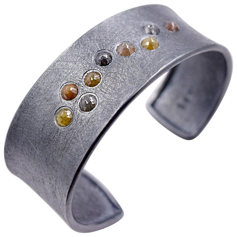 Todd Reed 4.48 Carat Rose Cut Colored Diamond Cuff Bracelet in Oxidized Silver