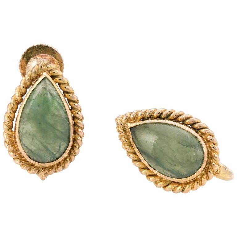 Pear Cut Jade Earrings 14 Karat Yellow Gold Fine Jewelry Screw Back
