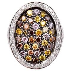 Sethi Couture 4.45 Carat Multicolored Diamond Cocktail Ring in 18 Karat Gold