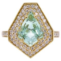 Lauren K. 2.27ct Kite Shaped Mint Tourmaline and Diamond Cocktail Ring 18K Gold