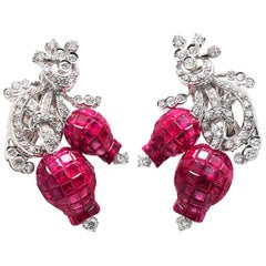 18 Kara Gold 1.99 Carat Diamonds and Invisible 25.22 Carat Ruby Tulip Earrings