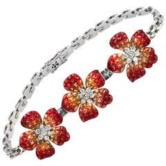 Invisible Set 24 Ct Natural Orange Sapphire & Diamonds 18k Gold Bracelet