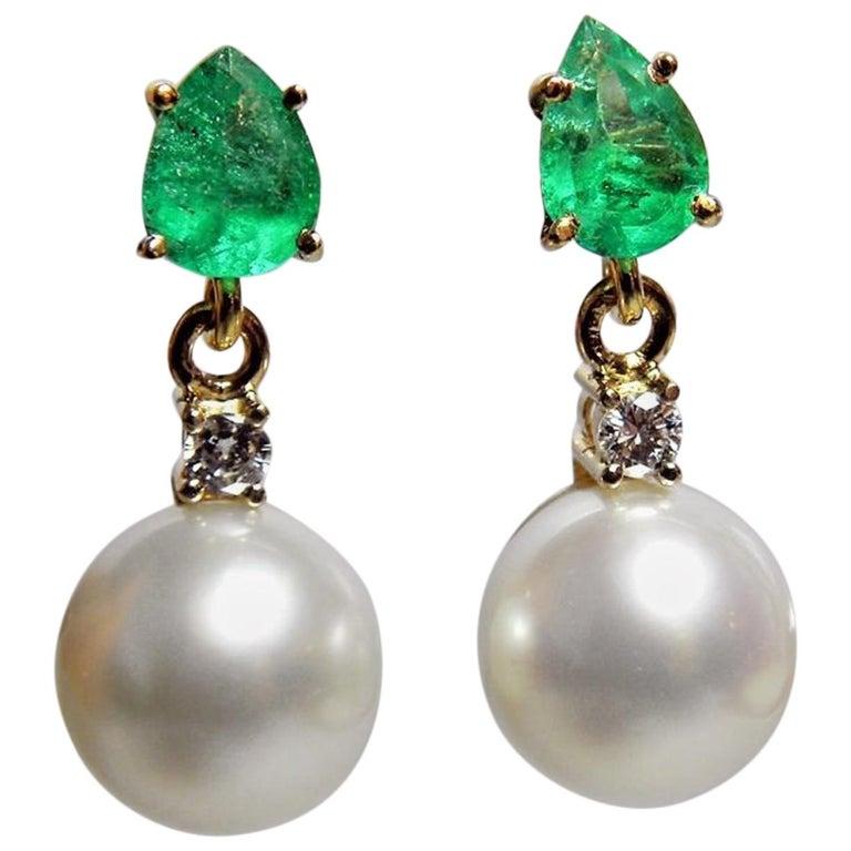 Natural Emerald Diamond and South Sea White Pearl Dangle Earrings 18 Karat For Sale