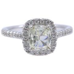 Henri Daussi Halo Diamond Engagement Ring Cushion Cut 1.13 Carat 14 Karat Gold