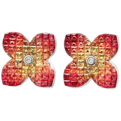 18k Gold Diamonds & Invisible Set 9.86 Ct Orange Sapphire Flower Earrings