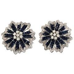 18k Gold Diamonds & Invisible Set 14.28 Ct Blue Sapphire Flower Earrings
