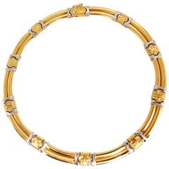 18 Karat Gold Byzantine Deco Link Necklace Two-Toned