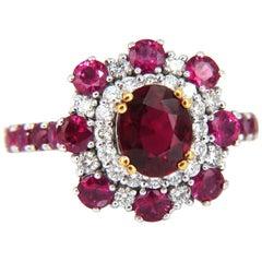 GIA Certified 2.92 Carat Natural Ruby Diamond Ring 14 Karat Cluster Prime