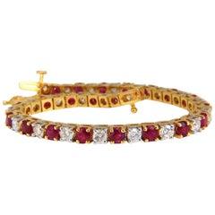 8.40 Carat Vivid Red Natural Ruby Diamonds Alternating Tennis Bracelet 14 Karat